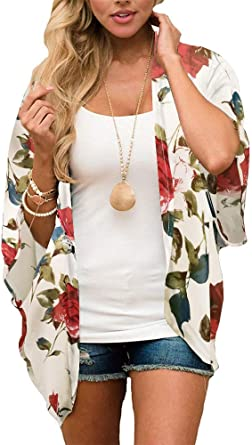 New Women Ladies Summer Open front Floral Multi Print mono Kimono Jacket