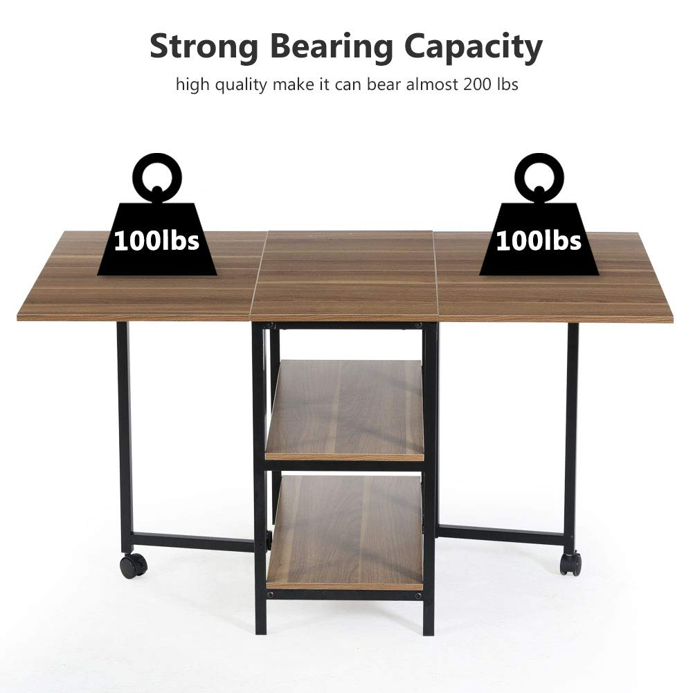 Folding Dining Table, Tribesigns Expandable Dining Table with Double Drop Leaf, Extra 2-Tier Storage Shelf, 2 Lockable Casters for Home Kitchen Use, Chairs Not Included. by Tribesigns (Image #5)
