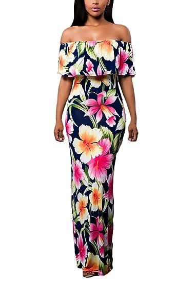 Mujer Vestidos De Fiesta Largos Verano Vintage De Flores Vestido De Noche Estampados Elegantes Sin Hombro