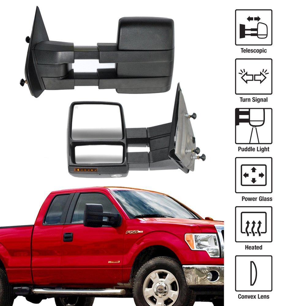 New Pair Set Heated Telescopic Power Tow Mirror w//Signal Pickup Truck