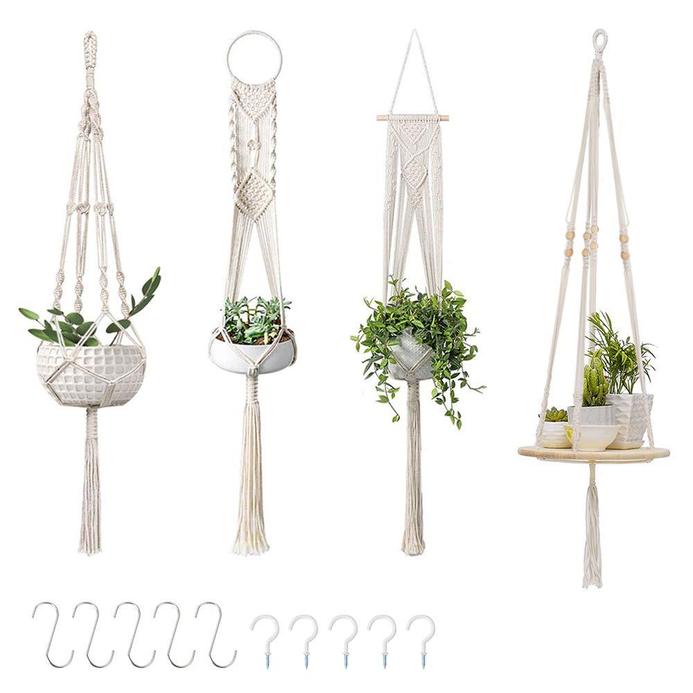 GROWNEER 4 Packs Macrame Plant Hangers with 10 Hooks Hanging Plant Shelf Indoor Wall Planter Decorative Flower Pot Holder Boho Home Decoration