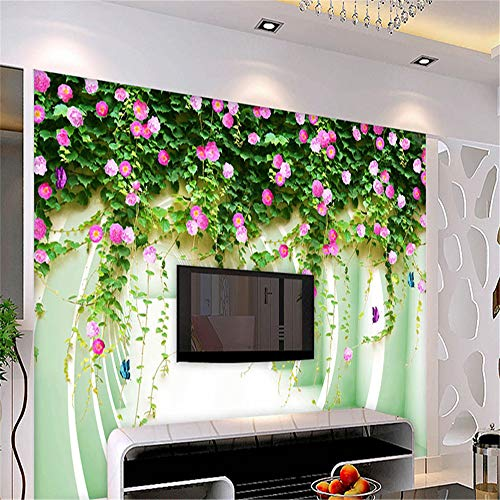 Green 350 Forest Series - Huytong 3D Wallpaper Living Room Bedroom Wall Sticker Mural Picture Decoration Rose, Rose, Green Vine Space 350Cmx270Cm