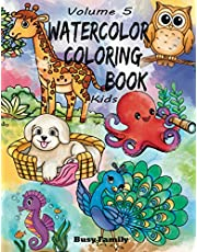 Watercolor Coloring Book Kids: (Volume 5) 12 ADORABLE TOP-NOTCH Illustrations + 12 Inspiring REFERENCE Pages. Peacock, Kitten, Pubby, Flamingo, Unicorn, and Much More. The Best Gift for Young Artists!!