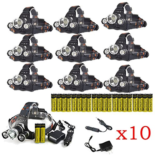 10 Sets of LED Headlamp Flashlight Bright Headlight Torch with 18650 Rechargeable Batteries and Wall Charger for Outdoor by X.Store