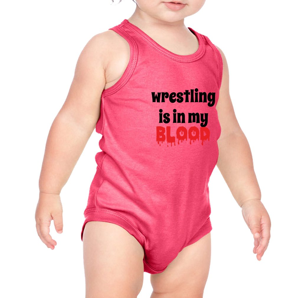 Wrestling is in My Blood Sport Combed Ring-Spun Cotton 3/8 Neck Band Unisex Infant Bodysuit One Piece - Hot Pink, 6 Months