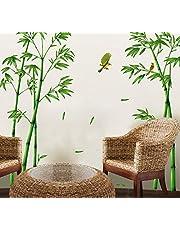 ufengke®® Chinese stijl groene bamboe en vogel muursticker, woonkamer slaapkamer verwijderbare muurstickers muurschilderingen