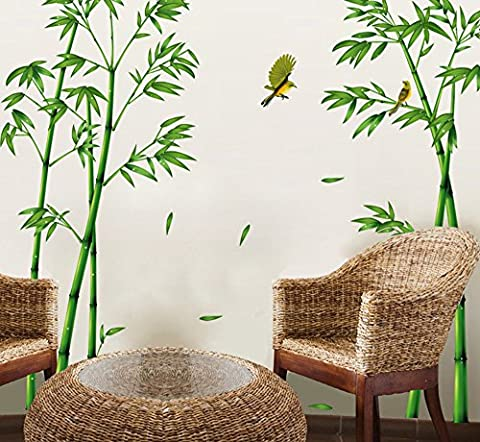 ufengke Chinese Stytle Green Bamboo and Bird Wall Decals, Living Room Bedroom TV Wall Removable Wall Stickers - Bamboo Wall Decals