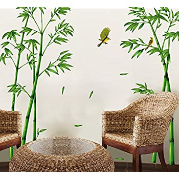Ufengke Chinese Stytle Green Bamboo And Bird Wall Decals, Living Room  Bedroom TV Wall Removable Part 32
