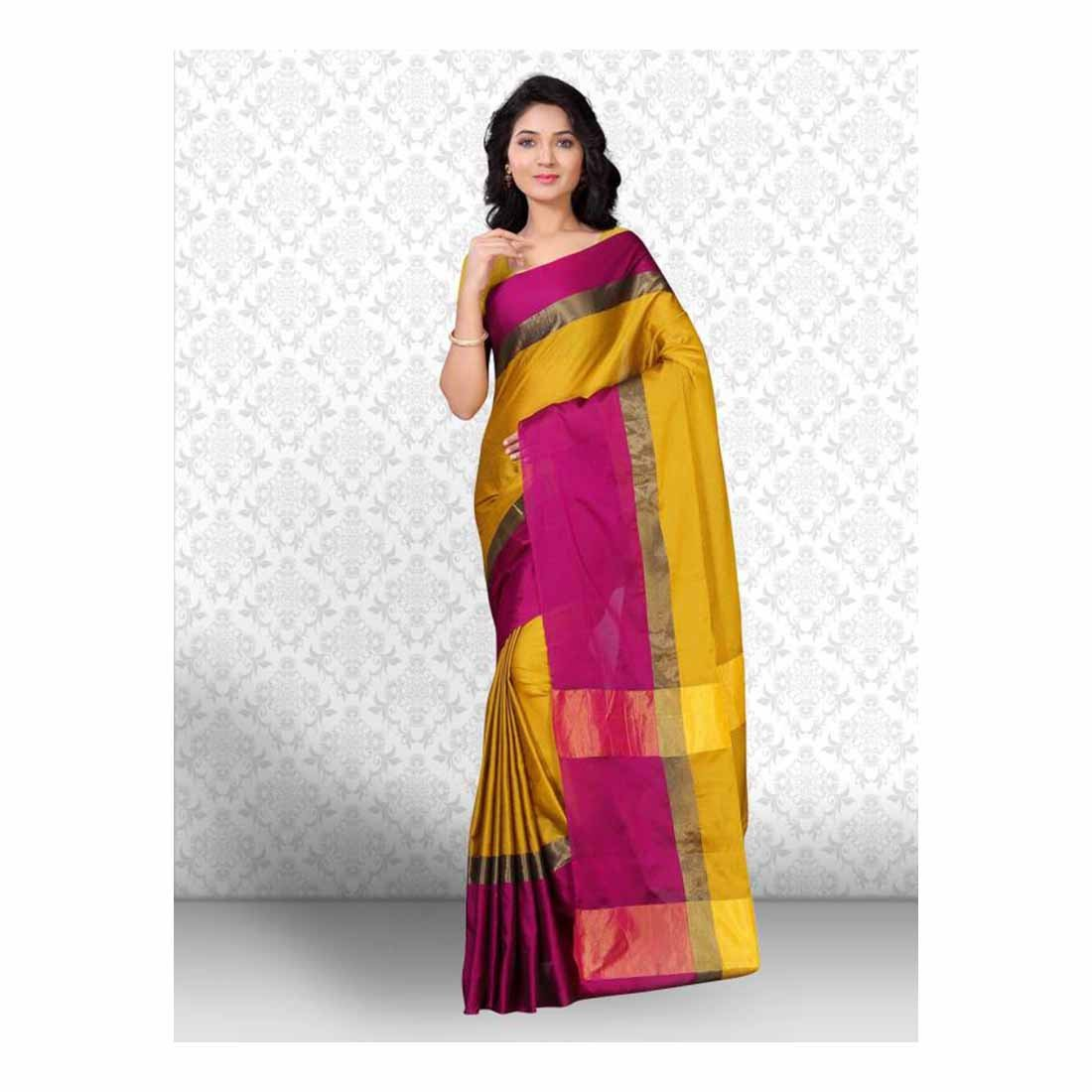 Striped, Printed, Solid Kanjivaram Art Silk Saree (Yellow, Pink) Indian Handicrfats Export FKSAR-0824