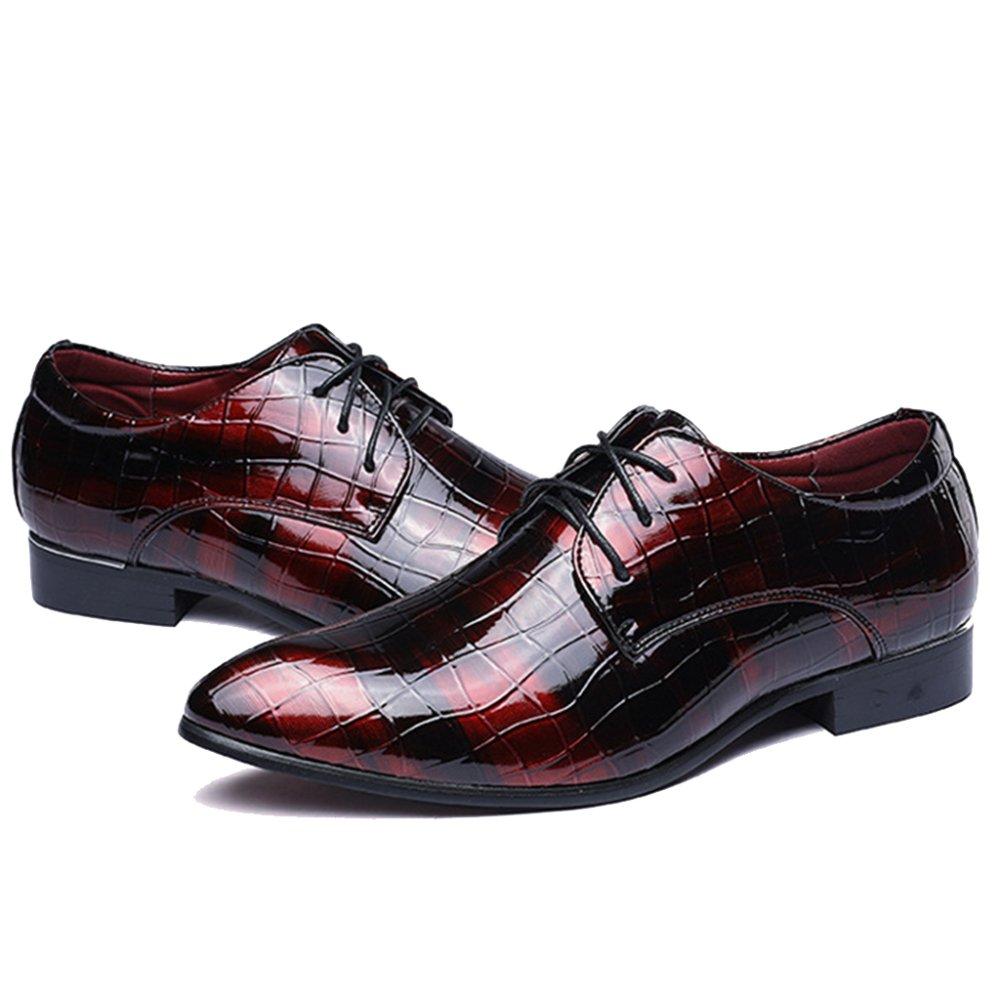 Herren Lace Ups Lackleder Schuhe Schuh Spitzschuh Schuhe Gittermuster Derby Schuh Schuhe Für Echte Formale Kleid Party Arbeit Hochzeit ROT 6de544