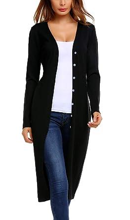 ELESOL Women s Long Sleeve Casual Soft Knit Open Front Long Cardigan  Sweater Black L b5828c145