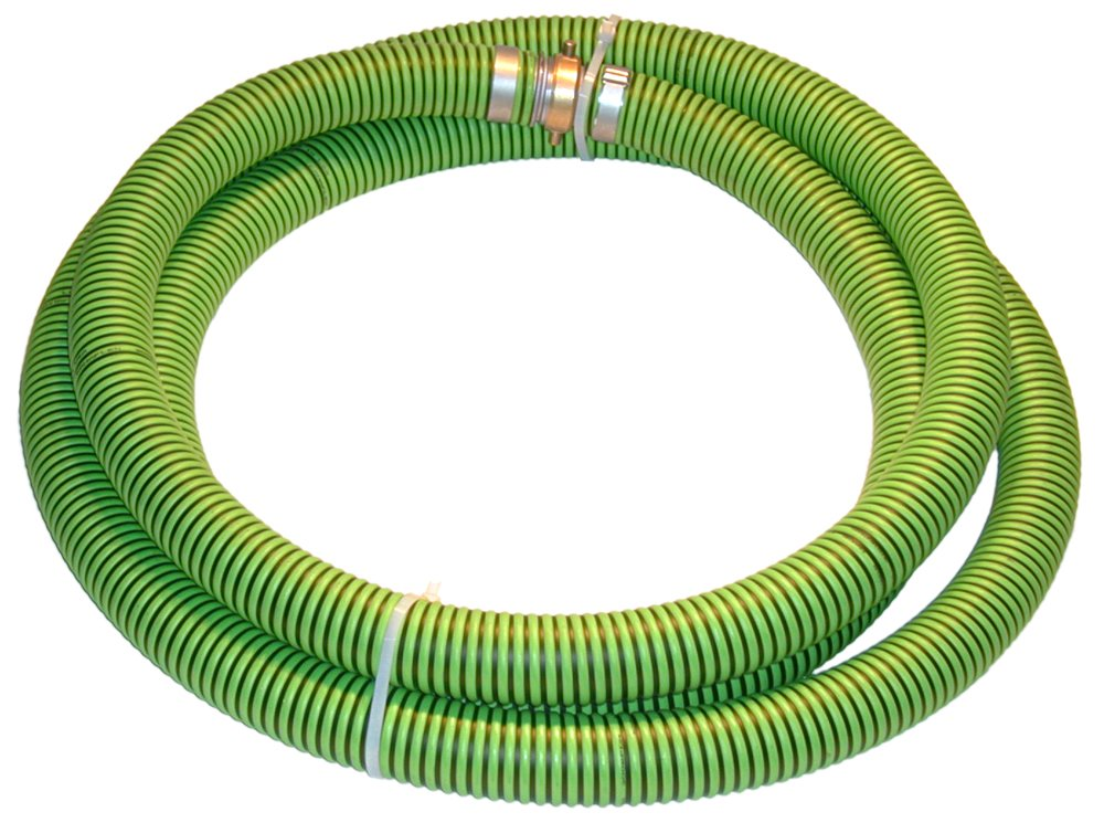 Kanaflex 300 EPDM Series EPDM Suction Hose Assembly, Green/Black, 3'' Male X Female (CXE) Camlocks, 43 PSI Maximum Pressure, 3'' Hose ID, 20' Length