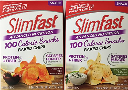 Slim Fast Potato Crisps Chips Snacks Bundle 2 Pack: Sour Cream & Onion and Mesquite BBQ (1 Pack of Each)