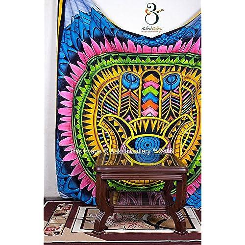 Aakriti Gallery Colorful Tapestry Single Hippie Mandala Wall Decor Hanging  Mandala Tapestries Hippie Dorm (Hamsa)