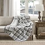 Woolrich Huntington Luxury Oversized Cotton Quilted Throw Gray 50x70 Plaid Premium Soft Cozy 100% Cotton for Bed, Couch or Sofa