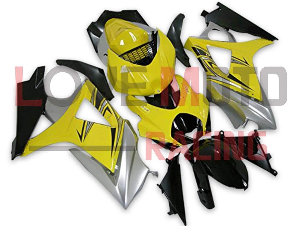 LoveMoto ブルー/イエローフェアリング スズキ suzuki GSXR1000 GSXR 1000 2007 2008 K7 07 08 GSX R1000 K7 ABS射出成型プラスチックオートバイフェアリングセットのキット イエロー ブラック   B07KG38G69