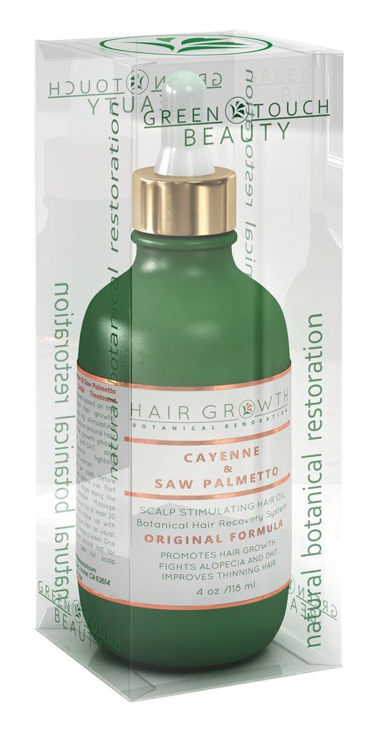 Hair Growth Botanical Renovation Scalp Treatment, Lab Formulated Anti-DHT and Alopecia Prevention, Organic Hair Oil Cayenne Saw Palmetto Capsaicin Extra, 4 oz.
