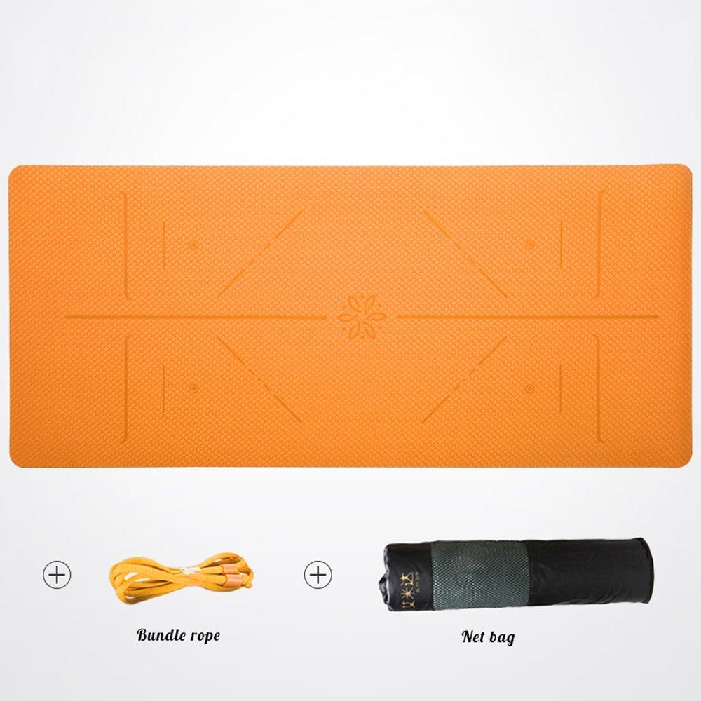 JTWJ Yoga-Matte Anfänger mehr doppelseitige Anti-Rutsch-Sport-Yoga-Matte (Farbe   Orange, größe   8mm)