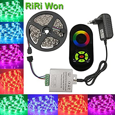 RiRi Won 5m 16.4ft Music Wireless Touch WIFI Remote Control 5050 SMD Flexible RGB LED Strip Light Kit, 12V Christmas Home Kitchen Indoor Party Decoration light