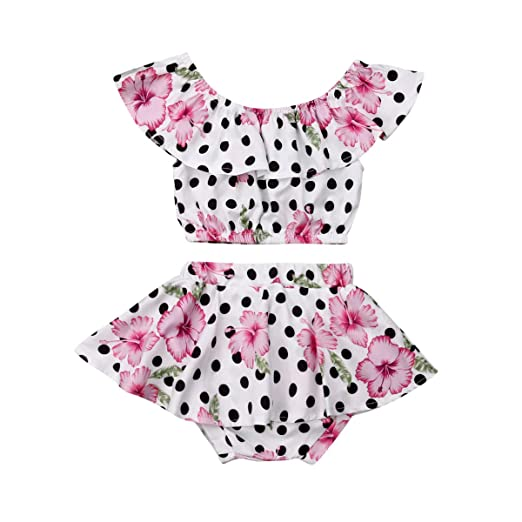 Newborn Baby Girl One Piece Swimsuit Floral Off-The-Shoulder Bathing Suit Summer Beachwear Outfit