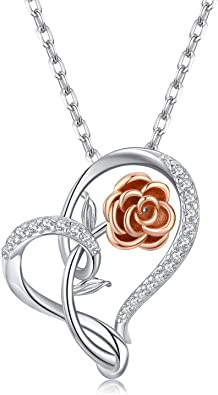 Silver Rose Flower Pendant and Necklace with Gift Box