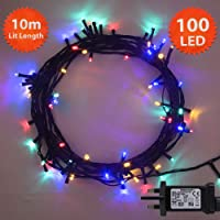 200to500 Multicoloured Fairy Lights Indoor and Outdoor Green Cable