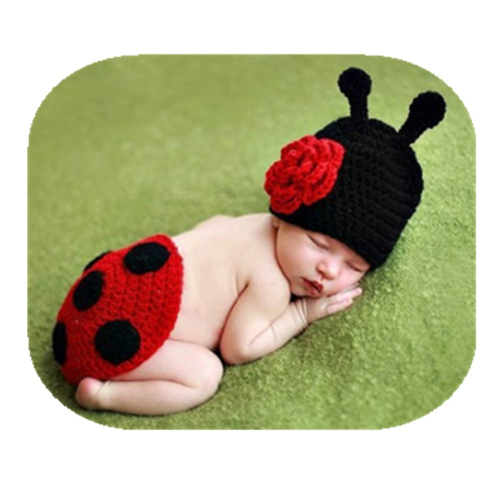 Newborn Monthly Baby Photo Props Outfits Crochet Knitted Ladybird Set for Boys Girls Photography Shoot