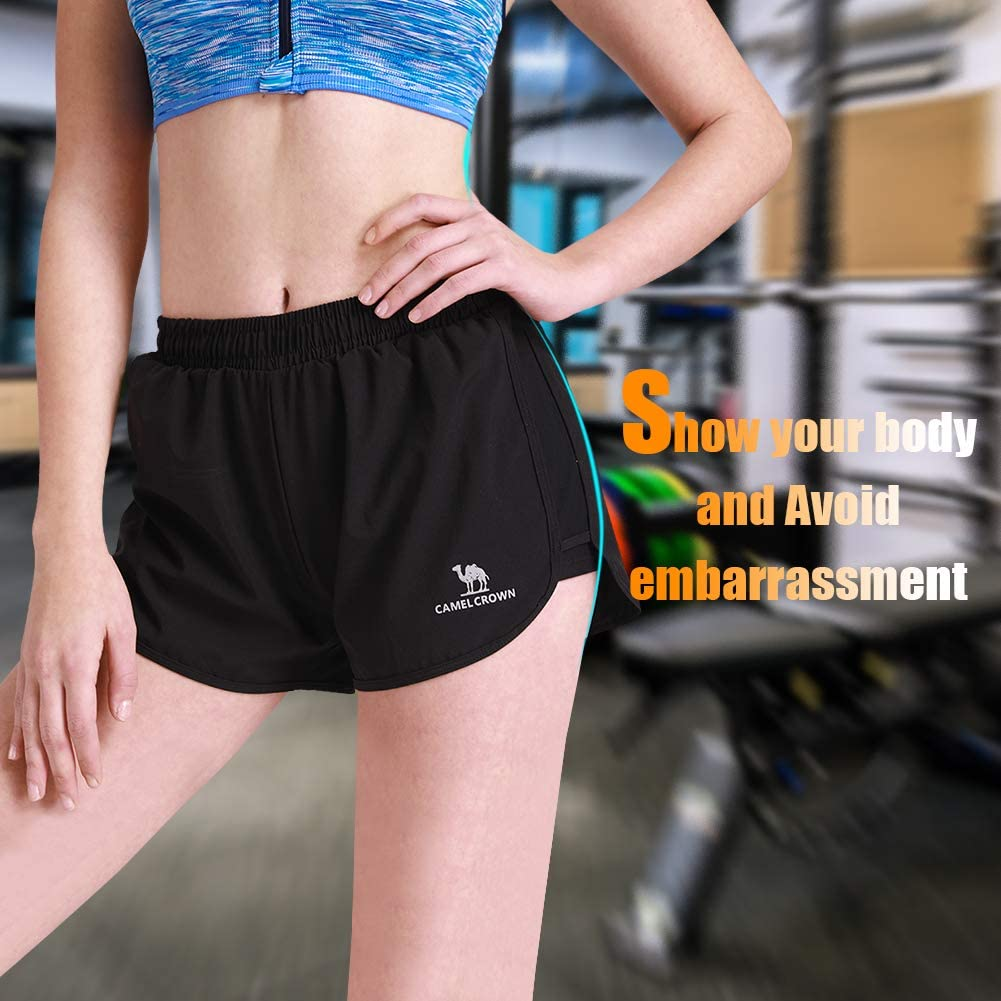 CAMEL Womens Running Shorts 3 Athletic Shorts Double Layer Elastic Waistband Sport Shorts for Workout Fitness Gym Training