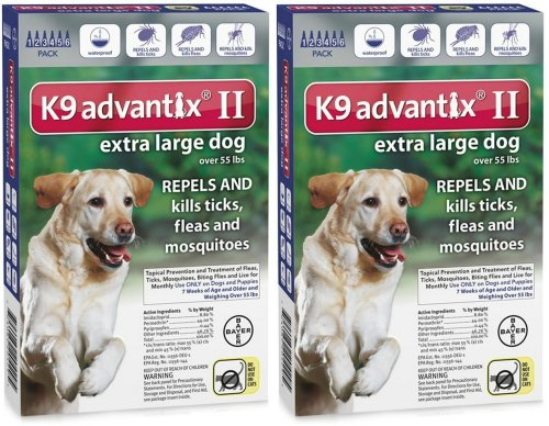 K9 ADVANTIX II Dog Flea & Tick over 55lbs Blue 12 Month
