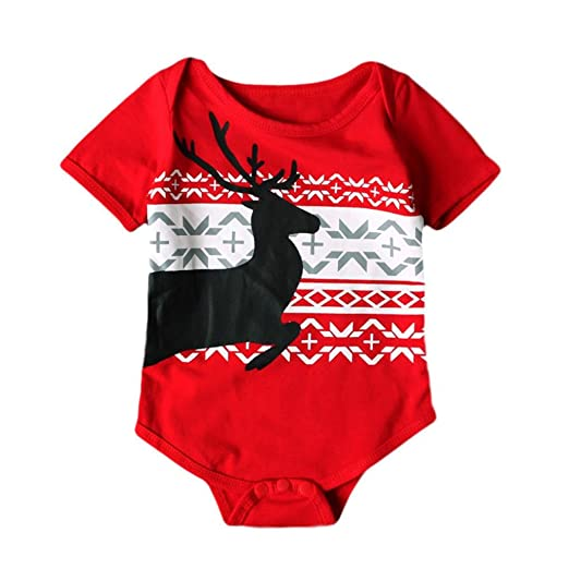 9336a71224f Allywit Toddler Newborn Baby Boys Girls Deer Christmas Rompers Jumpsuit  Outfits Clothes (6M