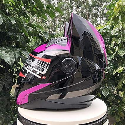 Sunzy Motorcycle helmet for women adult personality evergreen light purple black flip full face helmet with cat ears decoration detachable,M
