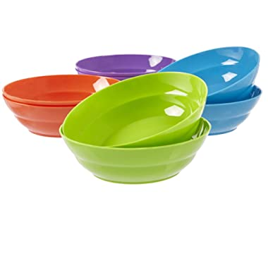 Sonoma 7-inch Plastic Pasta and Salad Dinner Bowls | set of 8 in Classic Colors