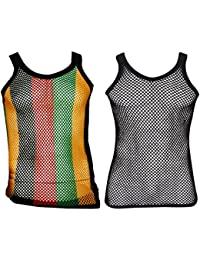 Mens Fitted String Mesh Vest Muscle Fishnet Cotton Rasta Black Red Green Yellow