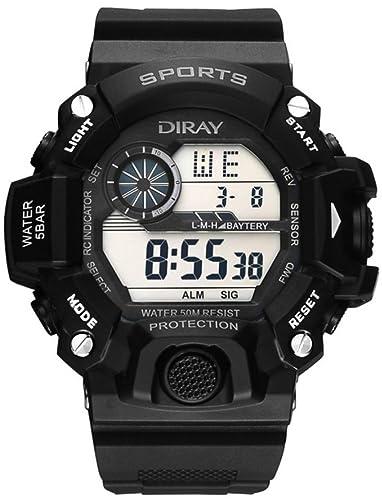DIRAY Hombre Digital Cuarzo Reloj con Plástico Correa Impermeable con Caja de Reloj Blanco Negro HSBCP0045: Amazon.es: Relojes