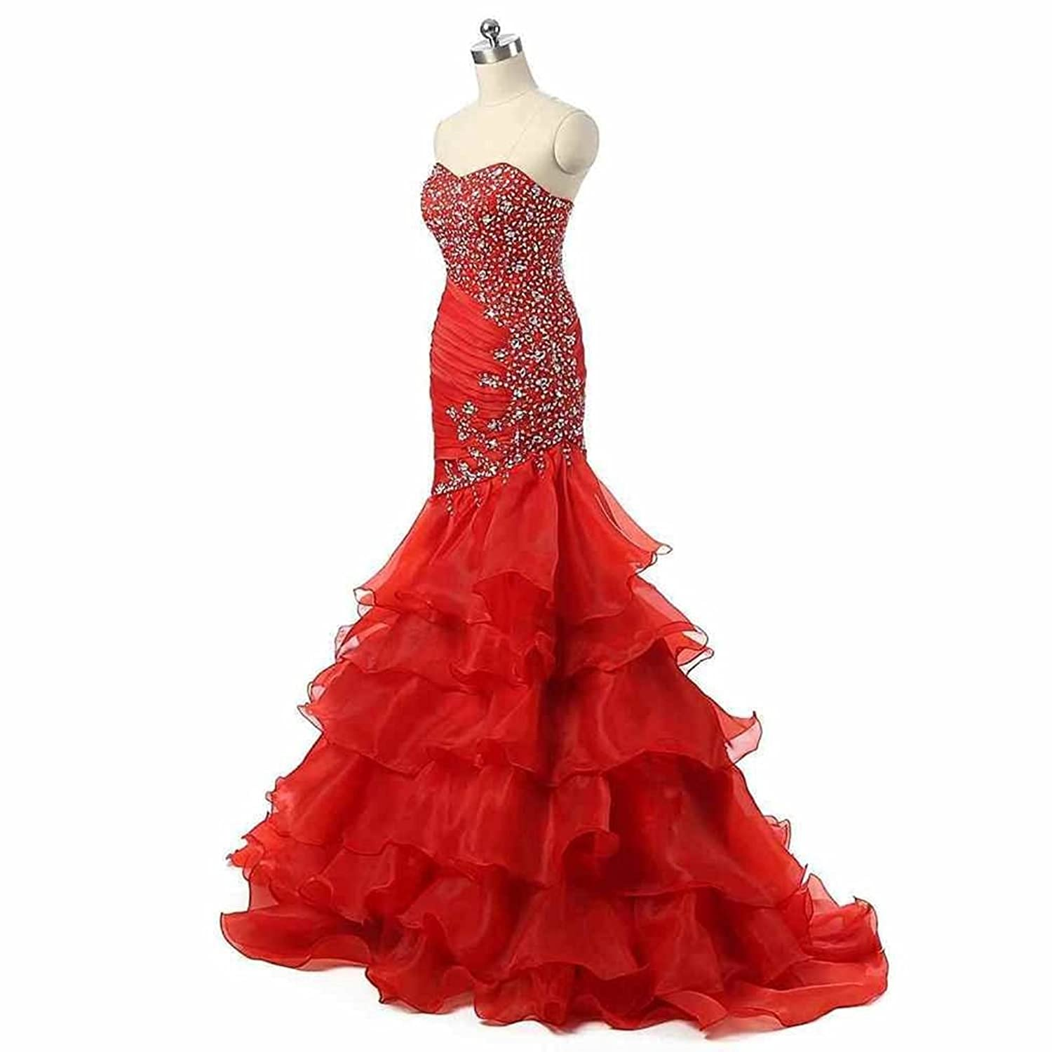 Amazon.com: MerryJuly Womens Beaded Sweetheart Lace Up Mermaid Prom Dresses 2017 Red: Clothing