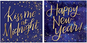 Midnight New Years Eve Cocktail Napkins Set - Bundle Includes 32 Beverage Napkins in 2 Different Designs