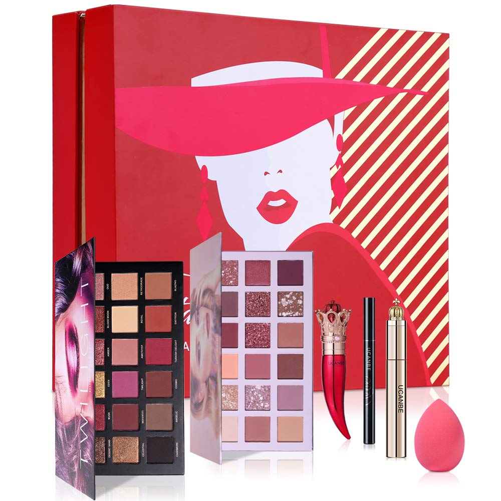 UCANBE Fiesta Makeup Set Duo 18 Colors High Pigmented Eyeshadow Palette With Waterproof Black Mascara Eyeliner Long Lasting Lipstick Soft Sponge Festival Gift Bundle Kit