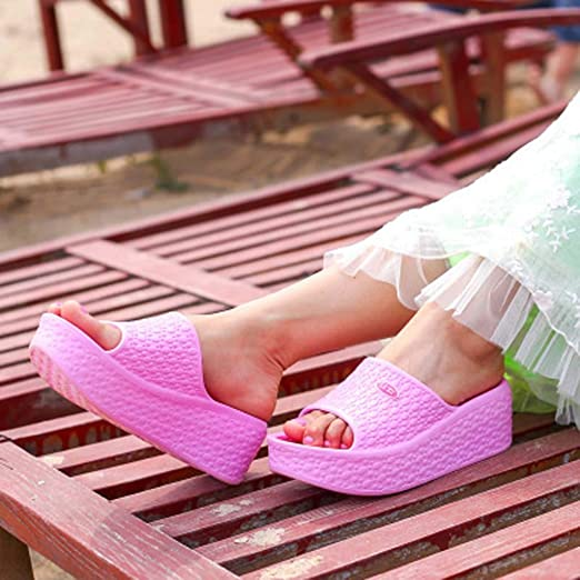 6b0a975a6 Amazon.com  Tsmile Women Flip Flop Rocking Shoes Summer Sandals Flip Flops  Slippers Sandals Swing Wedge Beach Hole Shoes  Clothing