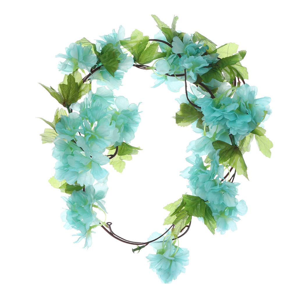 Staron  1 PC Fake Vine Flowers Plants Artificial Cherry Blossom Rattan Green Leaf Vine Hanging Garland Home Hotel Office Wedding Party Garden Craft Art Décor Champagne (Blue)