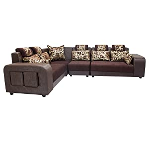 Zikra Six Seater L-Shaped Sofa (Marble Brown)