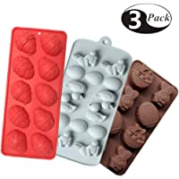 (3 Pack) Silicone Molds for Candy, Cake, Chocolate and Ice Cube, Easter Egg and Bunny Mold, Includes Egg, Rabbit, Lily and duck (Type 1)