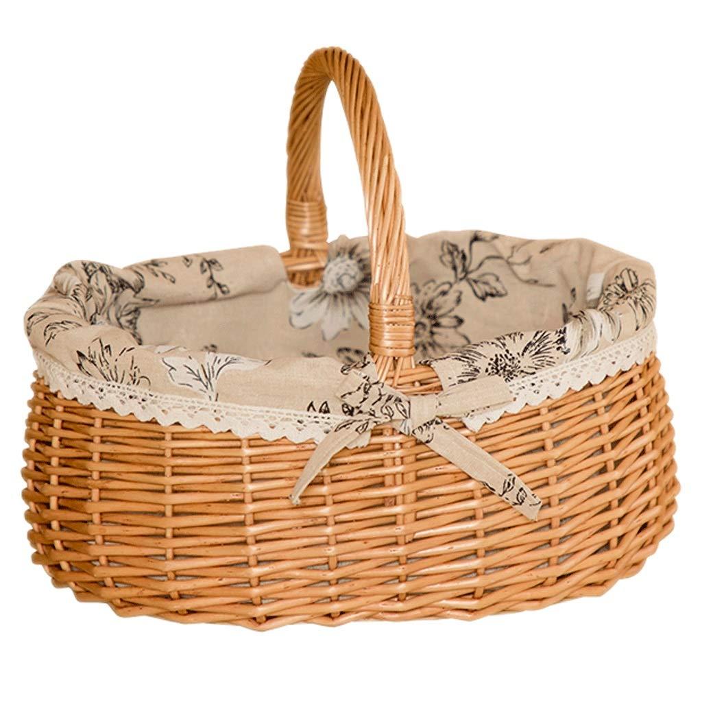 Tragbarer Korb für Picknickkorb-Rattan-Aufbewahrungskorb (Farbe   A) B07MMBGB6W | Spielzeugwelt, fröhlicher Ozean