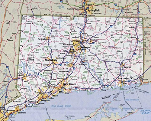 Map Connecticut - Gifts Delight Laminated 30x24 Poster: Road Map - Large Detailed Roads and Highways map of Connecticut State with All citiesMaps