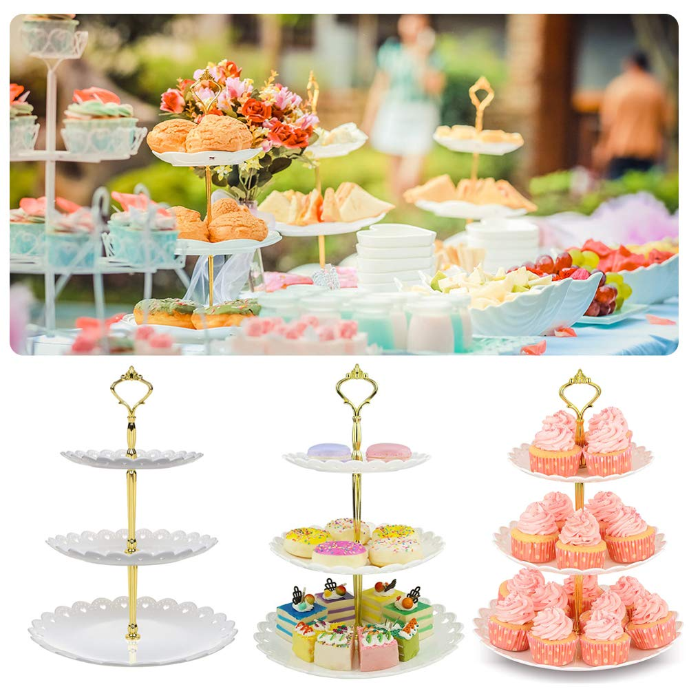 Plastic Tiered Serving Stand Dessert Tower Tray Fruits Desserts Plates for Tea Birthday Party Wedding 3 Tier Cupcake Stand