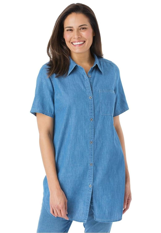how to wear a denim shirt plus size
