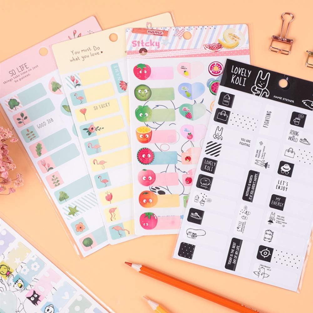 100 pezzi Nastri adesivi autoadesivi impermeabili Etichette nominali Adesivo fenicottero frutta animale per bambini Libro per bambini Gobesty Nomi adesivi Tazze