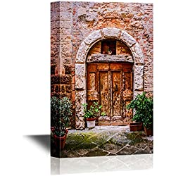 wall26 Doors Canvas Wall Art - Old Doors of Tuscany Italy - Gallery Wrap Modern Home Decor | Ready to Hang - 16x24 inches