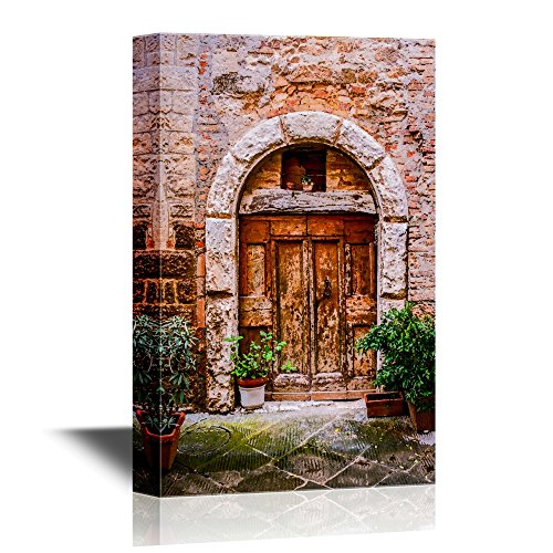 - wall26 - Doors Canvas Wall Art - Old Doors of Tuscany Italy - Gallery Wrap Modern Home Decor | Ready to Hang - 12x18 inches