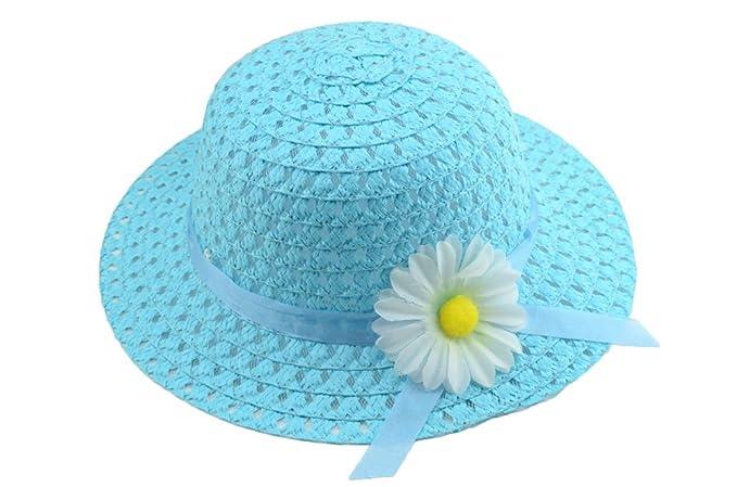 Leisial Sombrero de Paja Girasol Ala Ancha Verano Gorro Sombrero Viaje  Playa Anti UV Solar para Bebé Niñas Niños Azul  Amazon.es  Ropa y accesorios e8a8e084346