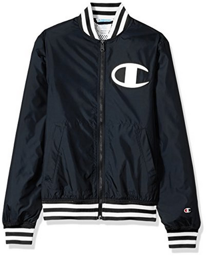 Champion LIFE Men's Satin Baseball Jacket, Solid Black, XL